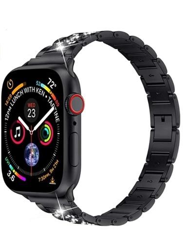 Wiwu Apple Watch 38mm Three Beads Set Auger Metal Kordon Siyah